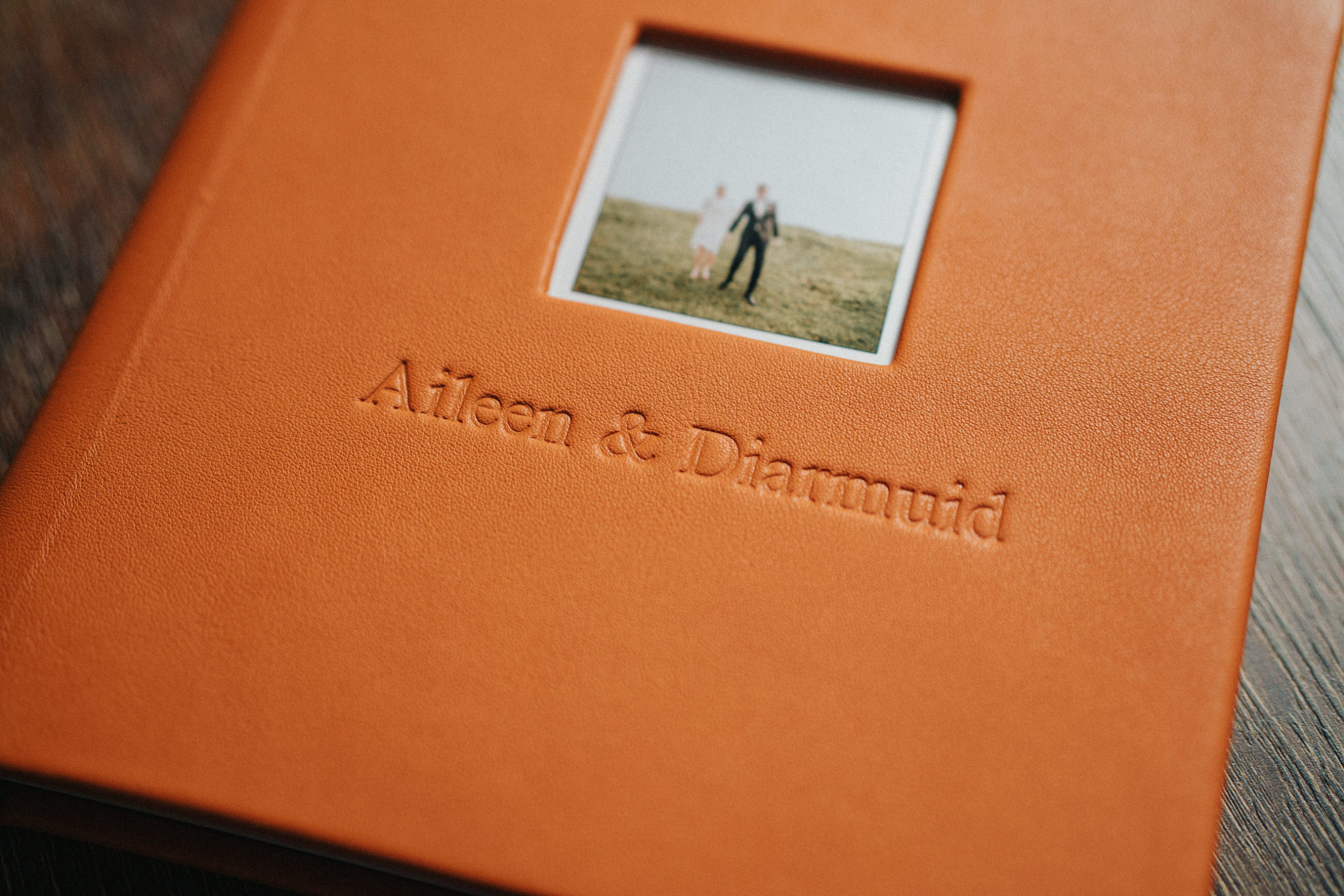 orange leather wedding album 12